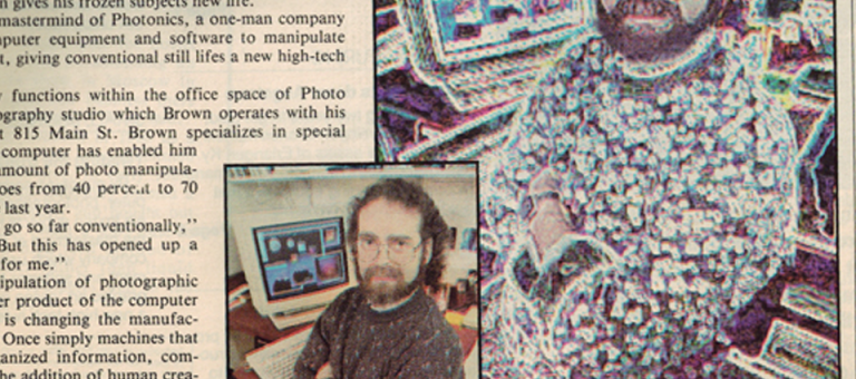 Alan Brown Photographer and Owner of Photonics Inc. in newspaper