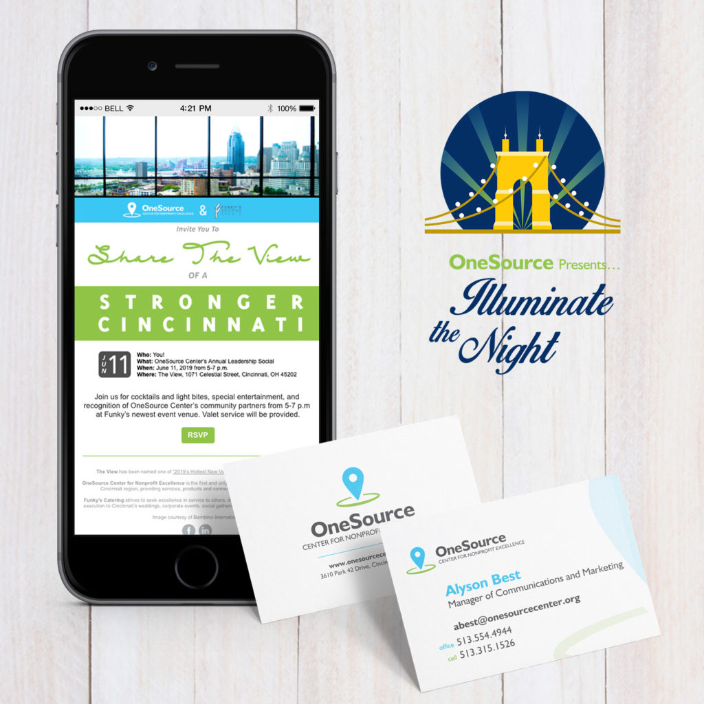 business cards, logo design, and mobile e-newsletters for OneSouce Center