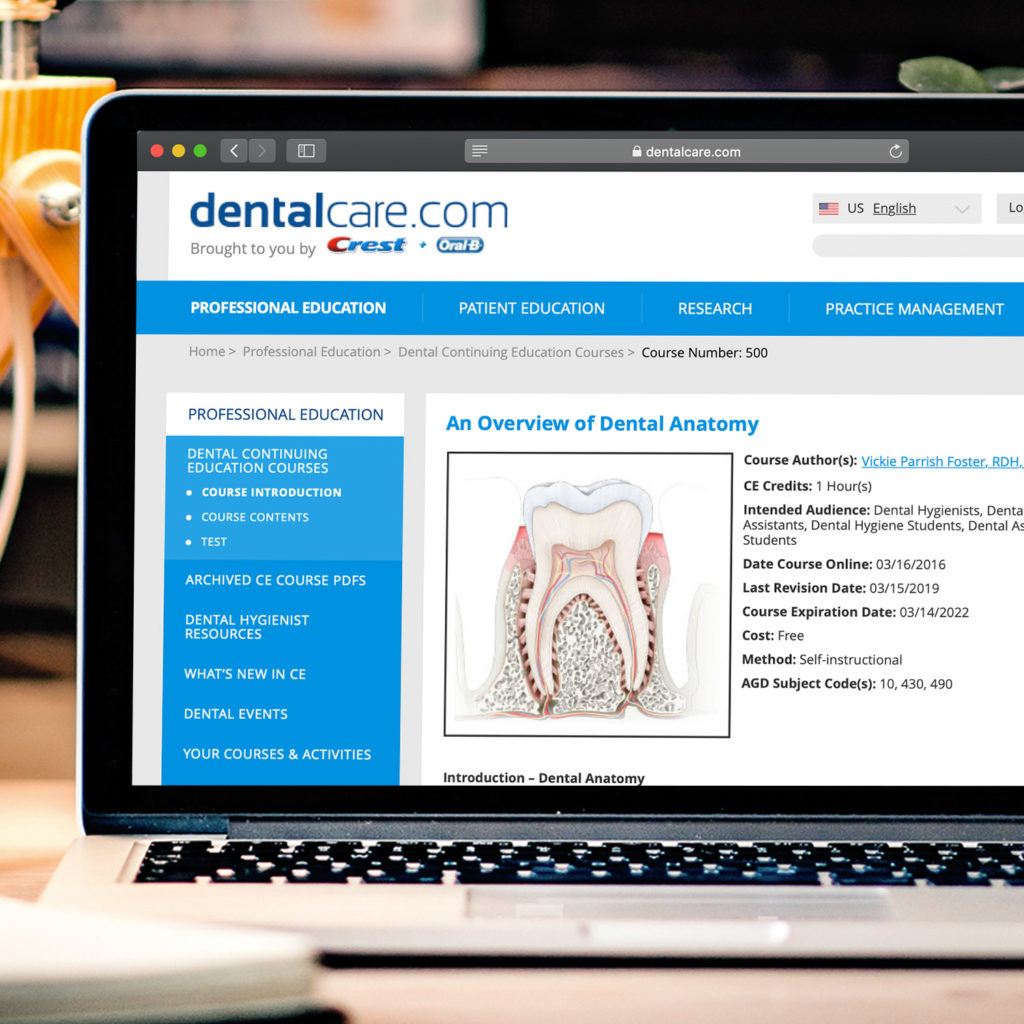 Digital Content and front end development for dentalcare.com Professional Dental website